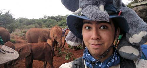 ASU applied physics major Paul Horton at elephant orphanage in Nairobi