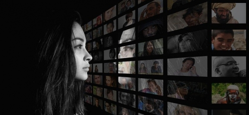 Woman watching different media image