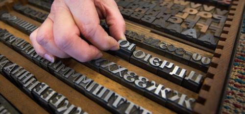 A case of letterpress type.