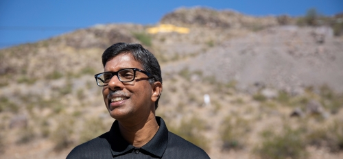 """portrait of man in front of ASU's """"A"""" Mountain"""