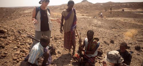 SHESC director Kaye Reed at an archeological site in Hadar, Ethiopia