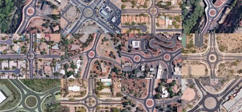 Satellite images of roundabouts in Arizona