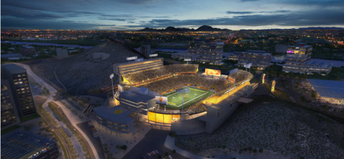 Sun Devil Stadium lit up at night