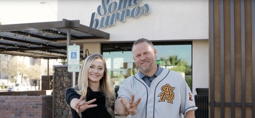 From left: Daughter Isabel and father Tim Vasquez outside the one of the family's Someburros locations.