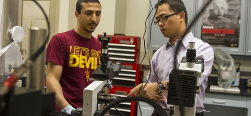 Liping Wang looks over metamaterials created in his Nano-Engineered Thermal Radiation Group.