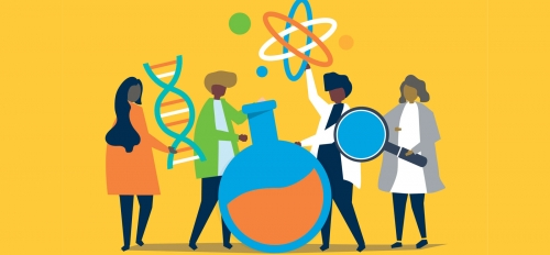 Graphic of four people interacting with objects representing different areas of science.