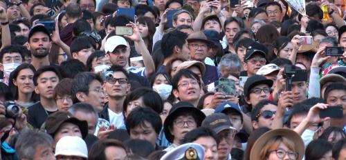 Crowd of people in Tokyo summer