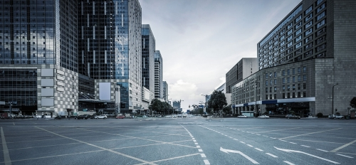photo of buildings from an empty street