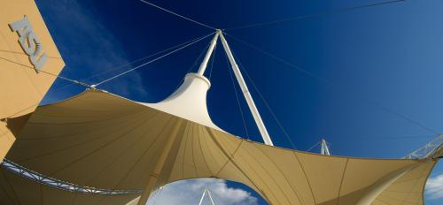 A dramatic shade structure at SkySong