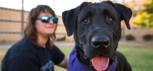Emily Hopkins and her dog, Quantico