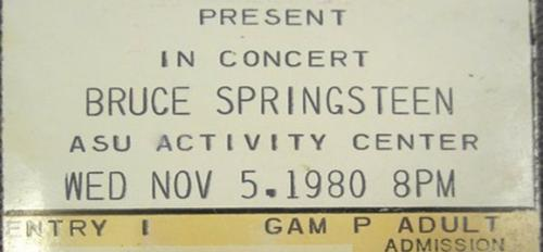 Concert ticket with words detailing who performed at the show.