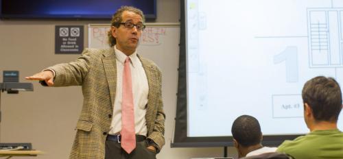 ASU Assistant Professor David Grau teaches in a classroom