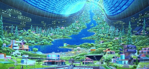 Public domain image of orbital colony Stanford torus, painted by Donald E. Davis, oil on board for NASA Ames