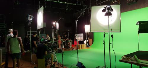 Sun Studios sound stage with green screen