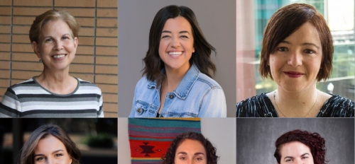collage of portraits of the six winners of the Graduate College Staff Awards for Excellence (clockwise from top left): ndra Williams, Kylie Burkholder, Katie Ulmer, Kathleen Malles, Natalie Hebert and Lynn Pratte