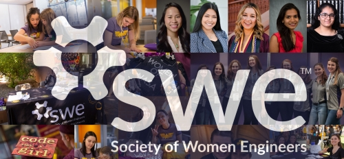 A graphic depicting students and activities from the Arizona State University section of the Society of Women Engineers.