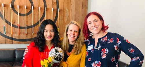 Zhengyu Wei, Tara Boucher and ASU Career Services' Alison Scott Dean pose at an ASU alumni and Career Services event in Seattle