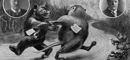 Cartoon depicting teddy bear and possum, Presidents T. Roosevelt and W. Taft