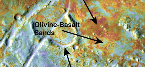 False-color image showing carbonate deposits in Nili Fossae on Mars
