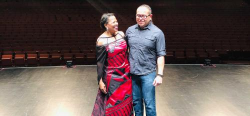 Colleen Jennings-Roggensack and designer Loren Aragon on the ASU Gammage stage