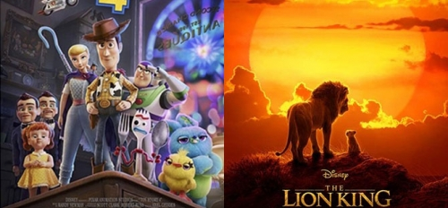 Movie posters for Toy Story 4 and Lion King