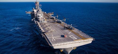 military ship on ocean