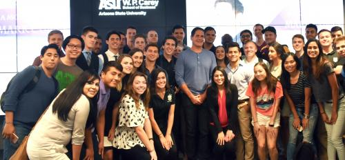 group of students posing with Mark Cuban