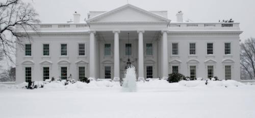 The White House with snow.