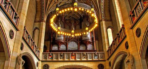 The organ inside a church in Germany