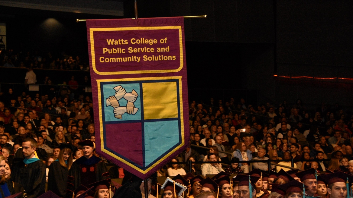 ASU Watts College graduates celebrate their achievement at the college's fall 2019 convocation in downtown Phoenix.