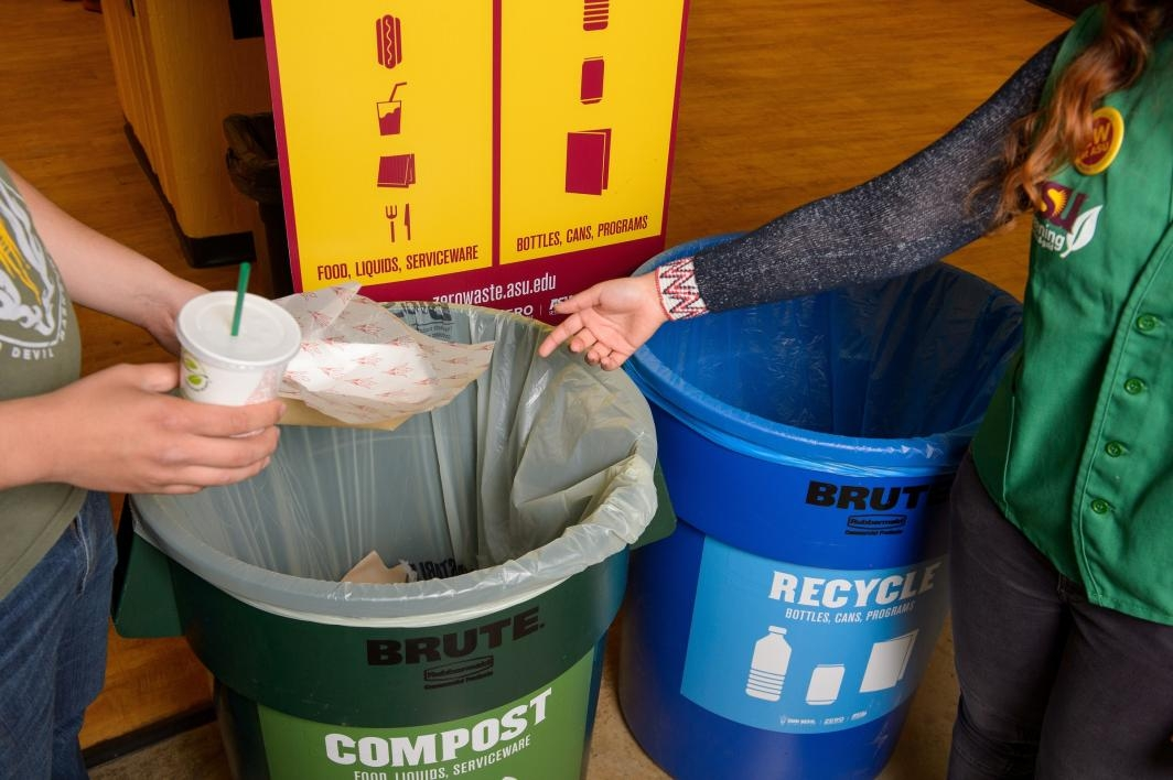 people recycling and composting food and materials