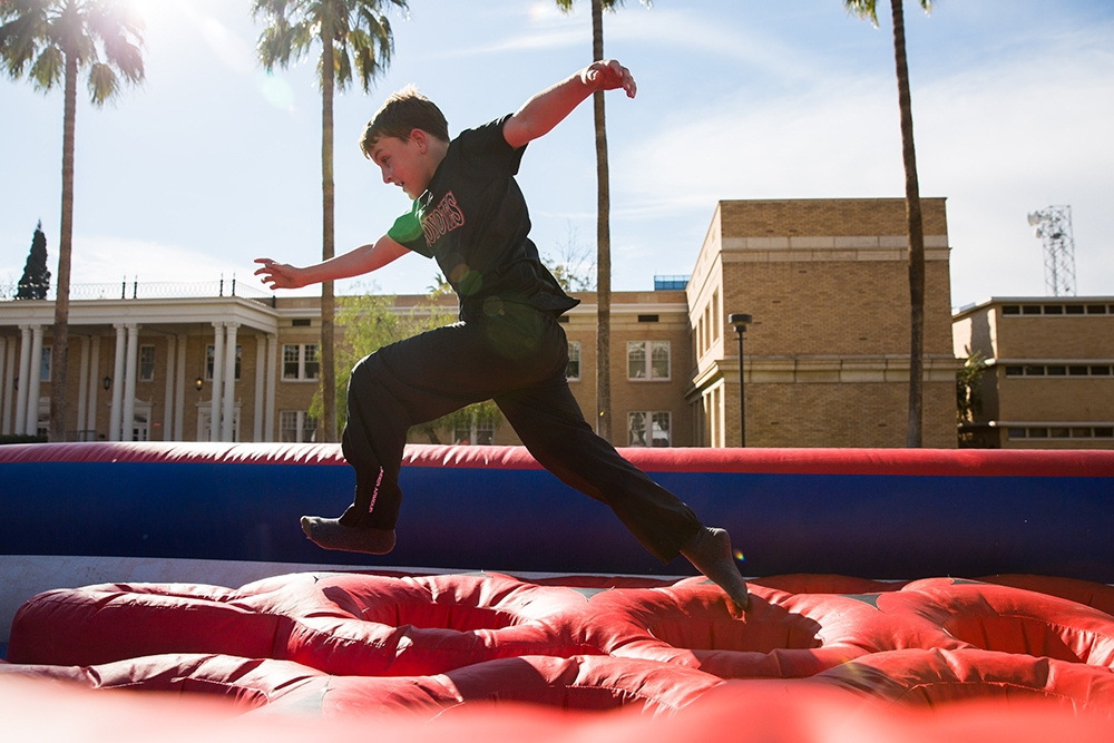 Running through the inflatable