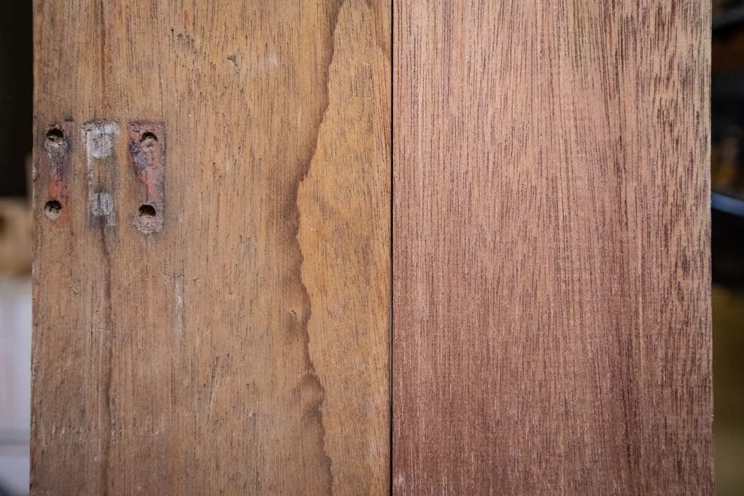 An old door becomes a piece of mahogany for a new project