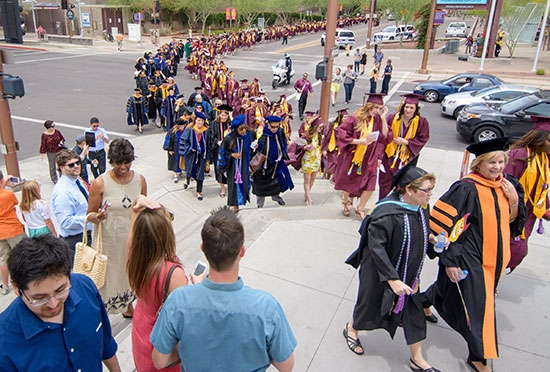students walking to convocation