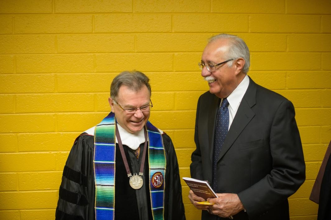 Alberto Rios and Ed Pastor before a convocation