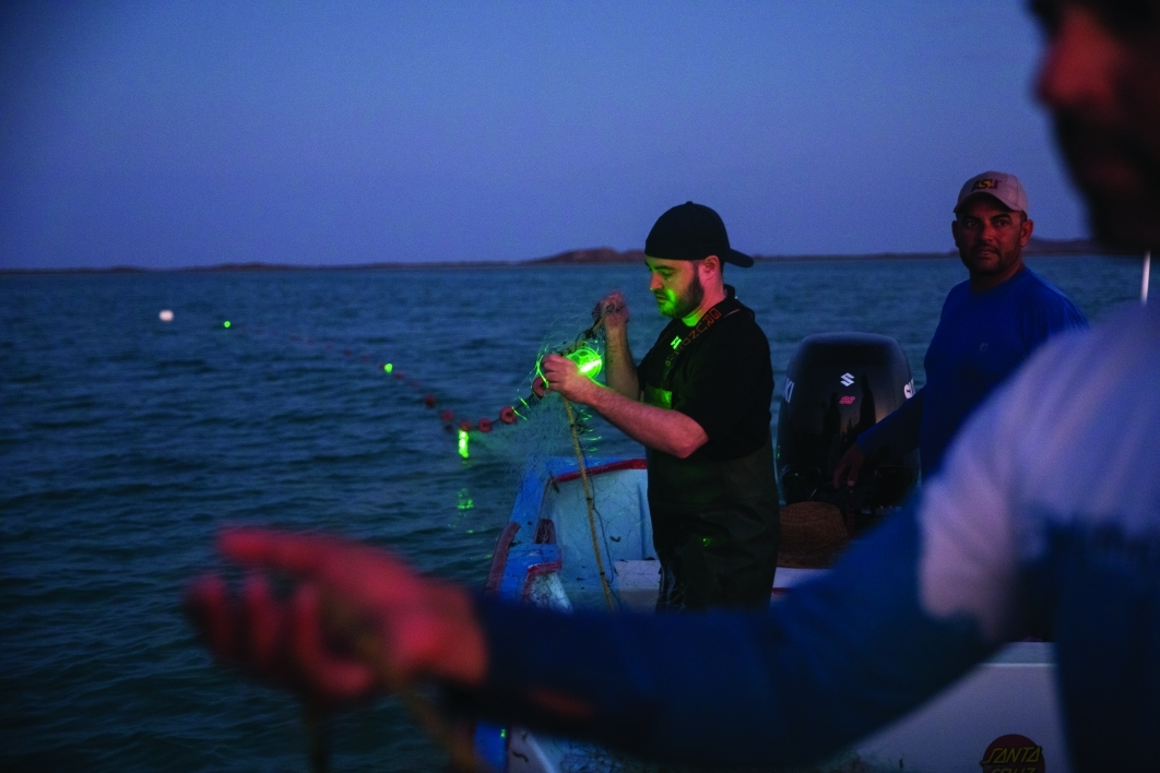 Jesse Senko activates solar fishing lights