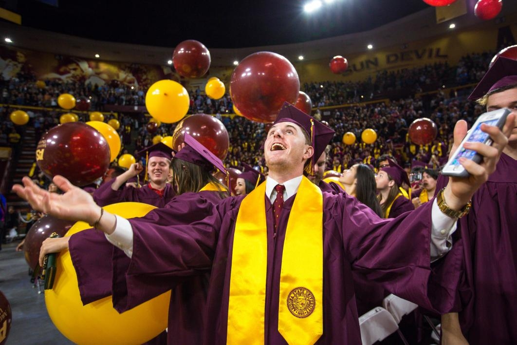 balloons dropping at ASU graduate