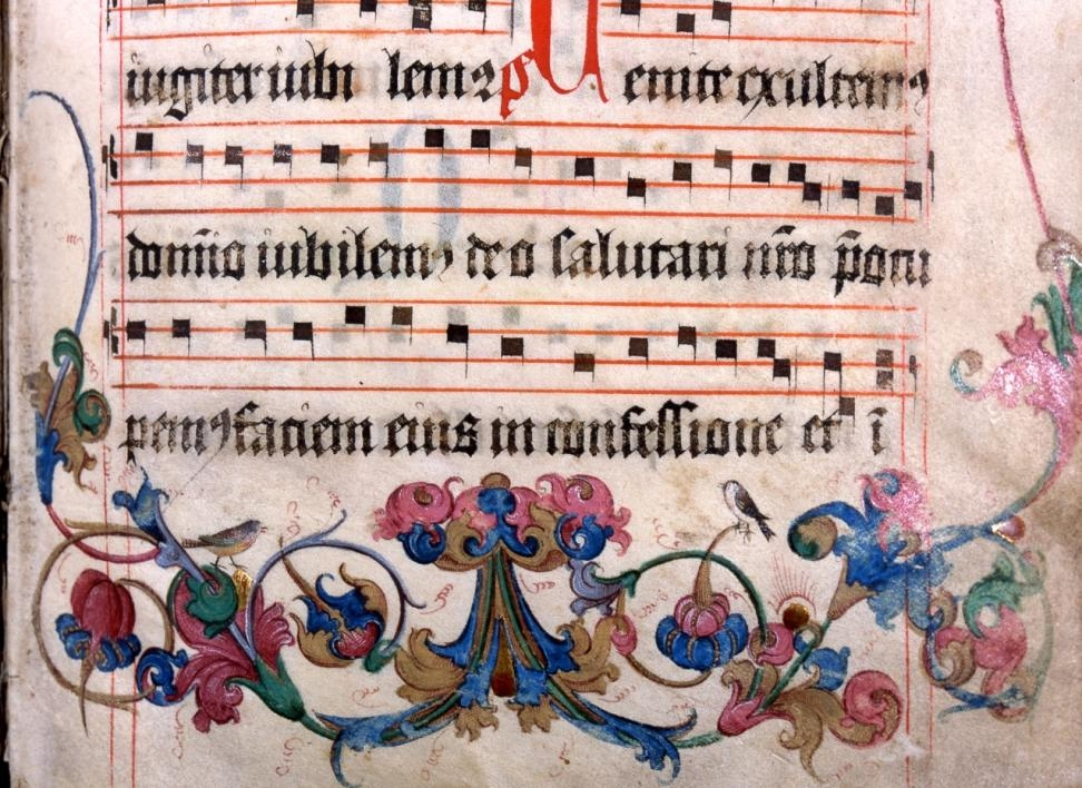 close-up of a medieval processional
