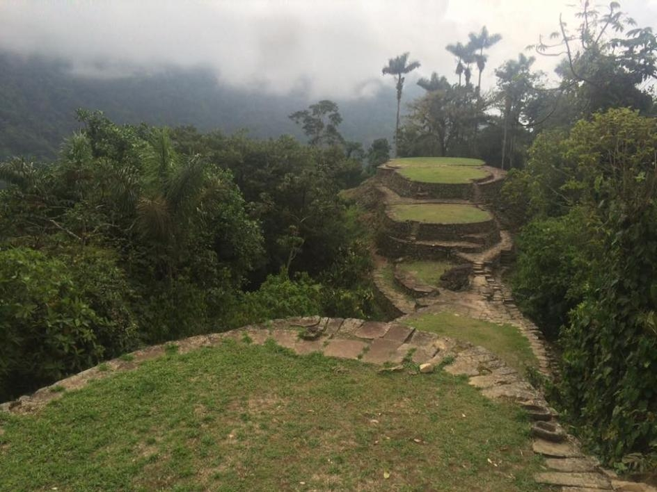 photo of Ciudad Perdida platforms where wood structures once stood