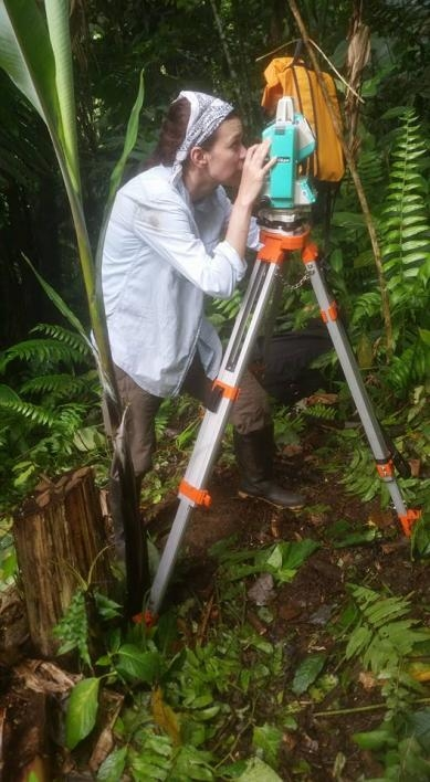 photo of Keckler-Alexander using a total station