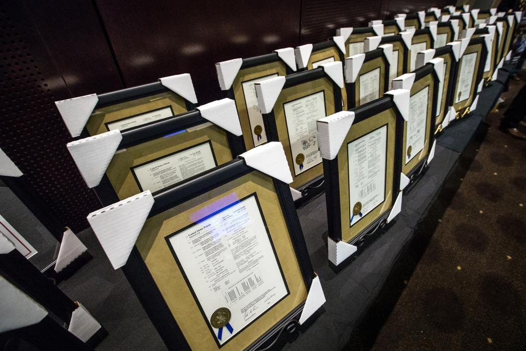 Framed patents on display at the ASU inventors luncheon