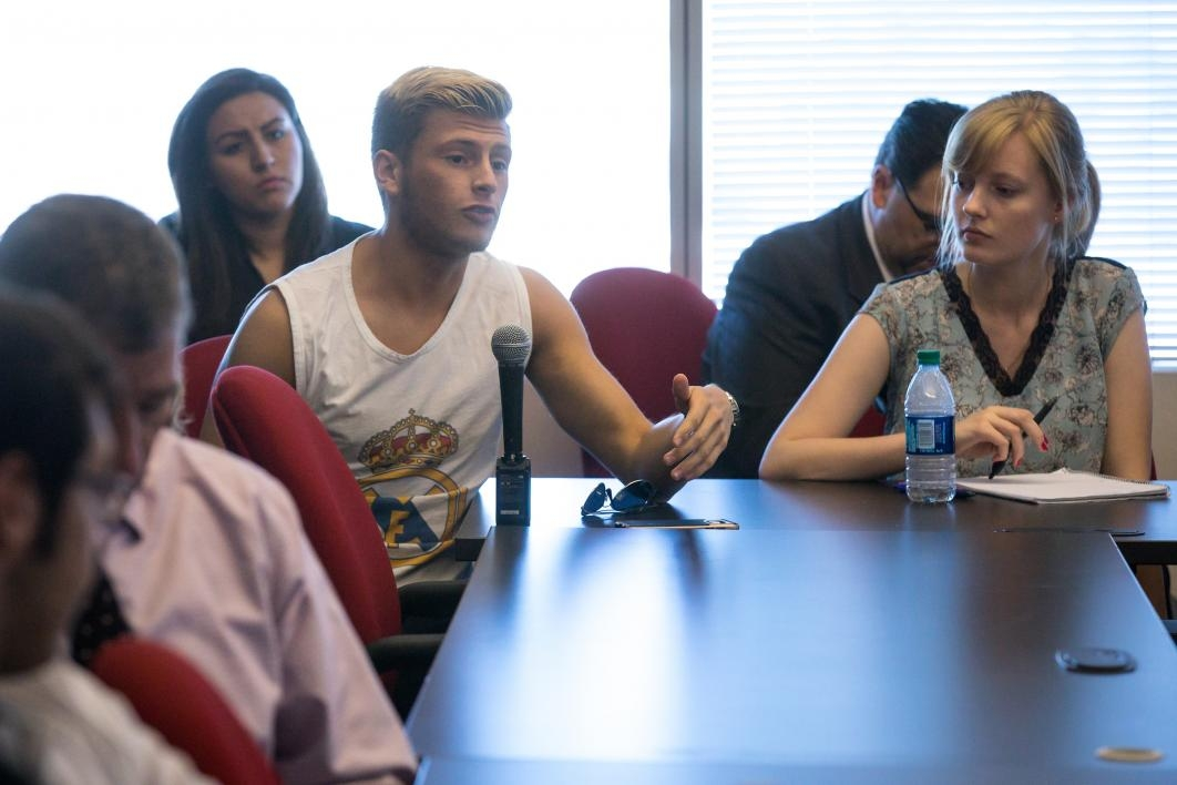 ASU students talk with the Qatar ambassador