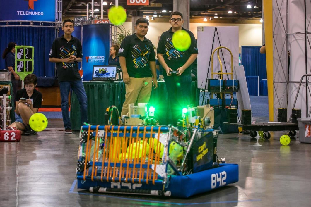 The Carl Hayden team drives their robot at National Council of La Raza