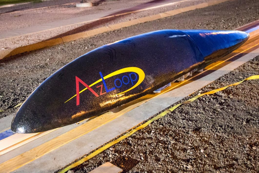 The completed AZLoop pod on the test track