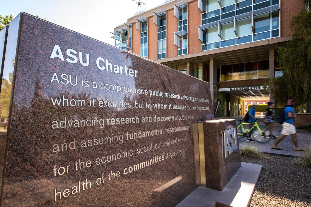 monument with ASU Charter on it.