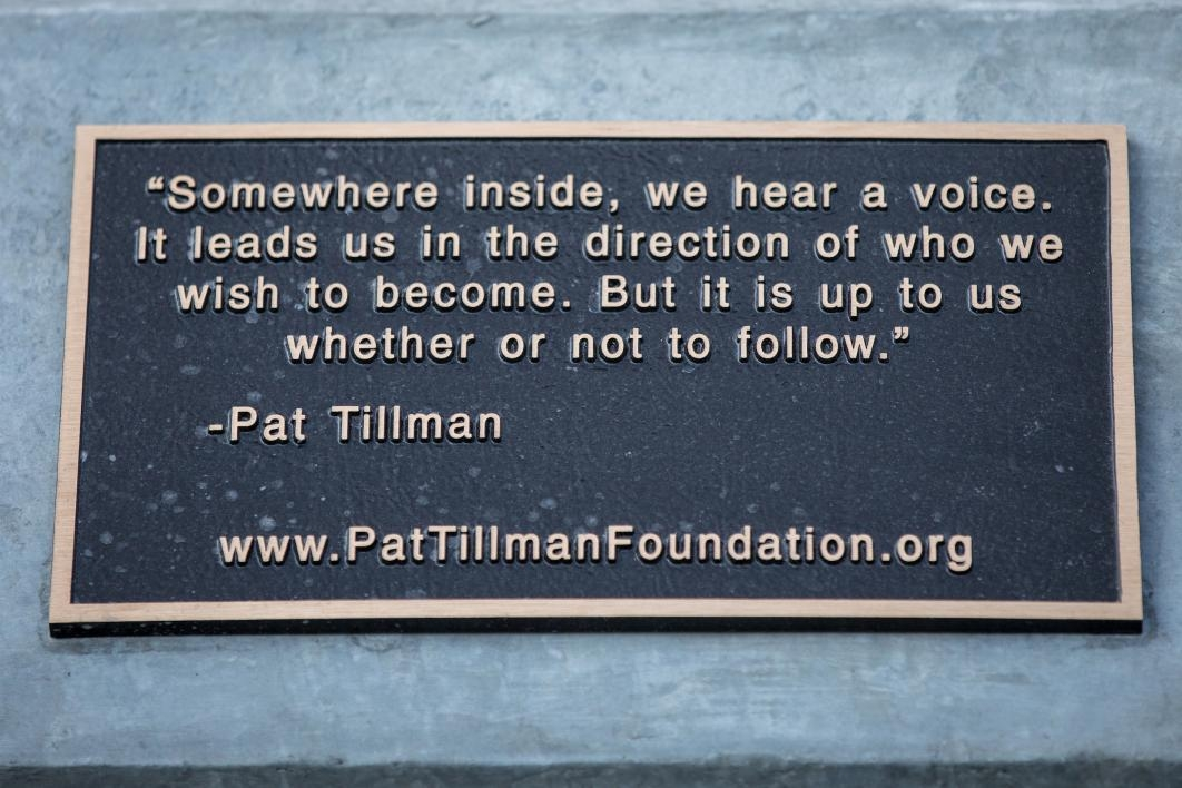 Quote on the Pat Tillman statue
