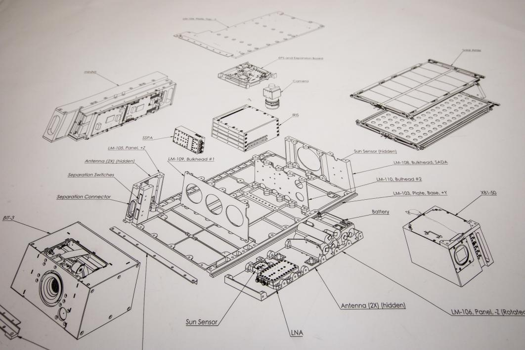 A schematic drawing of the cubesat design