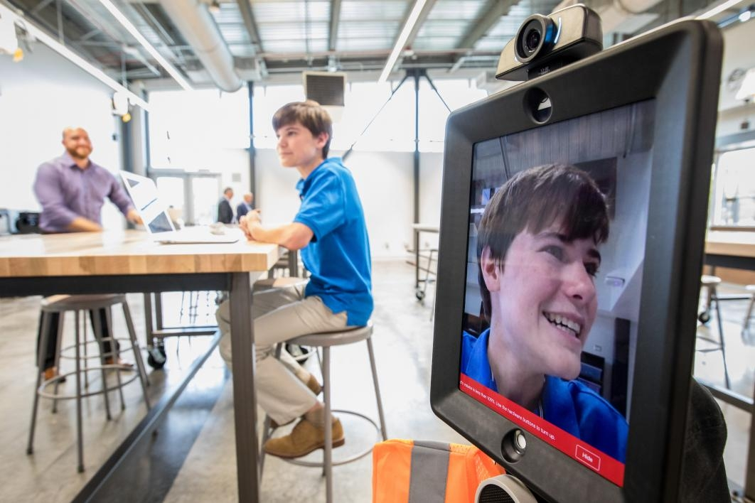 Herberger Young Scholars Academy classroom with telepresence robot