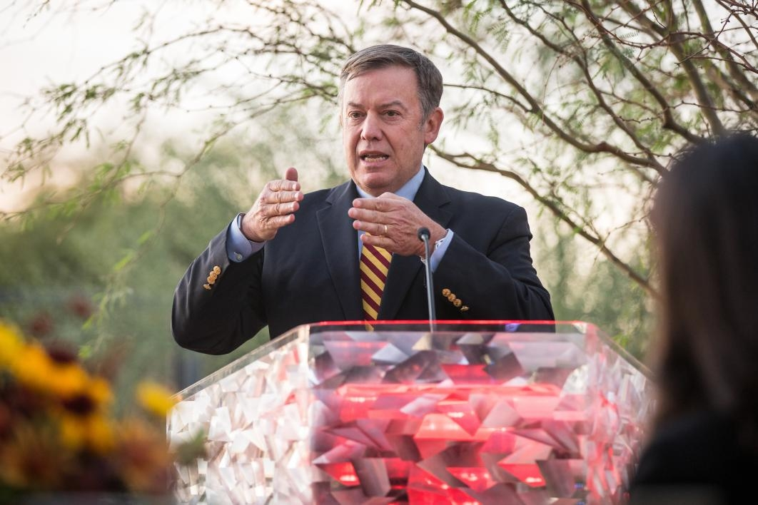 ASU President Michael Crow speaks at the opening of the Herberger Young Scholars Academy building