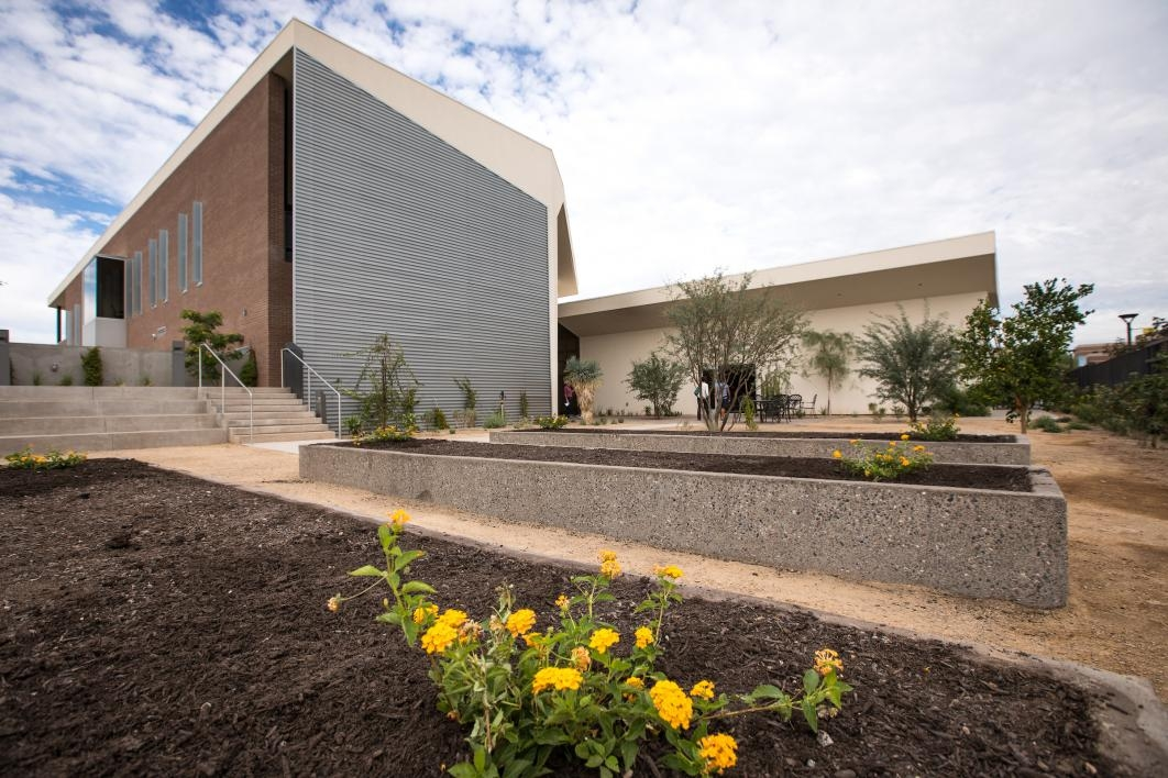 Raised gardens outside the new Herberger Young Scholars Academy building